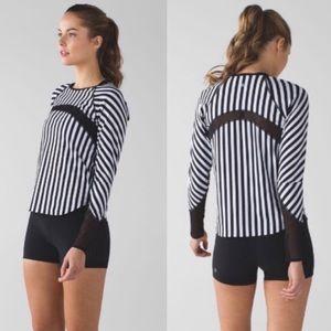LULULEMON • sun runner striped mesh long sleeve